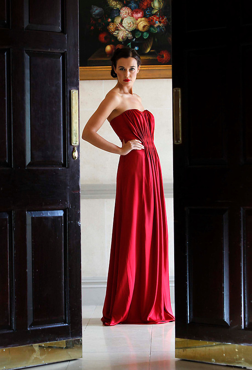 Littlewoods Ireland Autumn Winter Collection launch..Caoilinn wearing a ruby red draped gown as she launches Littlewoods Ireland Autumn Winter Collection