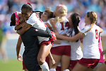 ORLANDO, FL - DECEMBER 03: Kiara Pickett #25 and Alison Jahansouz #1 of Stanford University celebrate their victory over UCLA during the Division I Women's Soccer Championship held at Orlando City SC Stadium on December 3, 2017 in Orlando, Florida. Stanford defeated UCLA 3-2 for the national title. (Photo by Jamie Schwaberow/NCAA Photos via Getty Images)