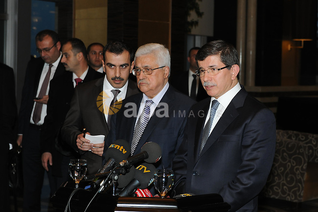 Palestinian President, Mahmoud Abbas (Abu Mazen) during Maghrib prayer in the mosque of 'ACPI' with the Turkish Foreign Minister Ahmed Daoud Ihsanoglu in Konya City  in Turkey  on Dec. 19, 2011. Photo by Thaer Ghanaim