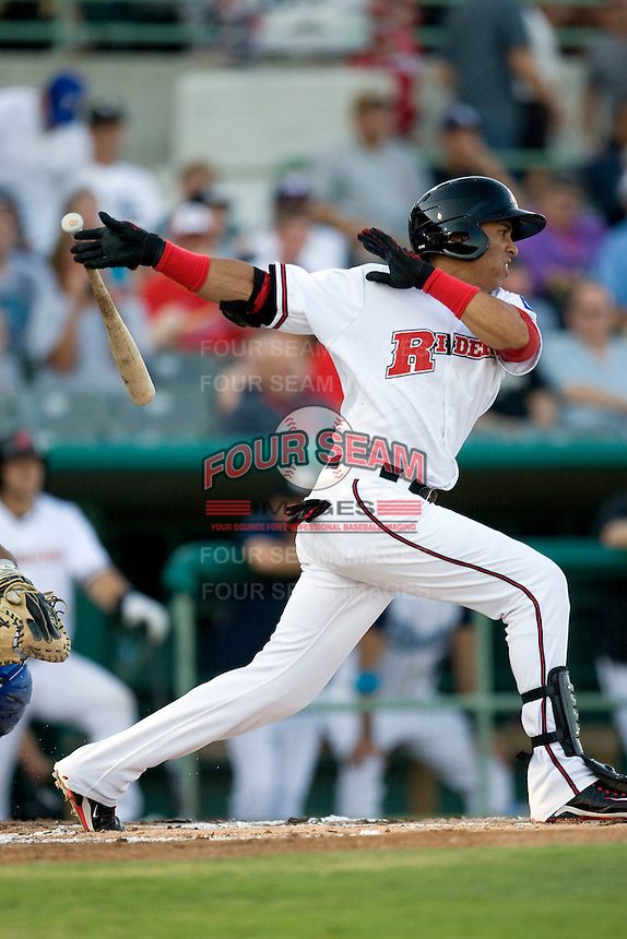 Frisco Roughriders outfielder Leonys Martin #20 swings during the Texas League All Star Game played on June 29, 2011 at Nelson Wolff Stadium in San Antonio, Texas. The South All Star team defeated the North All Star team 3-2. (Andrew Woolley / Four Seam Images)