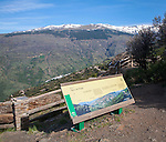 Panoramic viewpoint of the landscape of Sierra Nevada Mountains in the High Alpujarras, near Capileira, Granada Province, Spain.