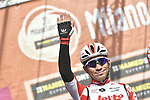 Caleb Ewan (AUS) Lotto-Soudal at sign on in Fortezza Medicea before the start of the 110th edition of Milan-San Remo 2019 running 291km from Milan to San Remo, Italy. 23rd March 2019.<br /> Picture: LaPresse/Fabio Ferrari | Cyclefile<br /> <br /> <br /> All photos usage must carry mandatory copyright credit (&copy; Cyclefile | LaPresse/Fabio Ferrari)
