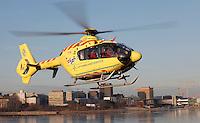 Helikopter EC-135.  Bilde tatt ifm reportasje om basen i Bergen. <br /> <br /> Magasin 1/2013