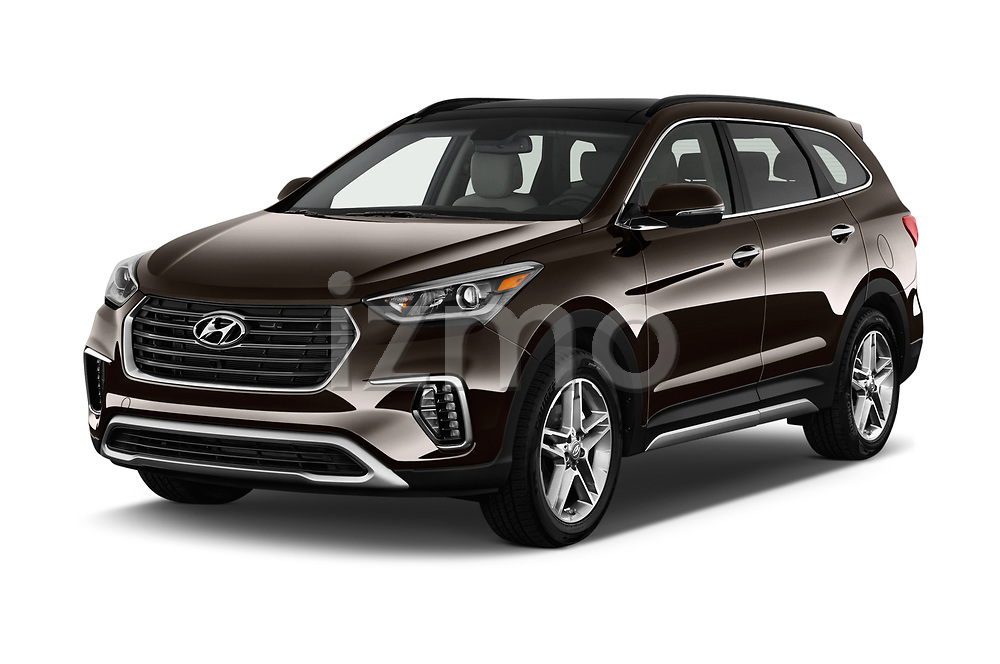2018 Hyundai Santa-Fe Limited-Ultimate-FWD 5 Door SUV Angular Front stock photos of front three quarter view