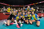 24.02.2019, SAP Arena, Mannheim<br /> Volleyball, DVV-Pokal Finale, SSC Palmberg Schwerin vs. Allianz MTV Stuttgart<br /> <br /> Jubel Schwerin nach Matchball / Sieg<br /> <br />   Foto © nordphoto / Kurth