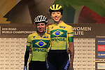 Flavia Maria De Oliveira Paparella and Anna Paula Polegath of Brazil at sign on for the start of the Women Elite Road Race of the UCI World Championships 2019 running 149.4km from Bradford to Harrogate, England. 28th September 2019.<br /> Picture: Eoin Clarke | Cyclefile<br /> <br /> All photos usage must carry mandatory copyright credit (© Cyclefile | Eoin Clarke)