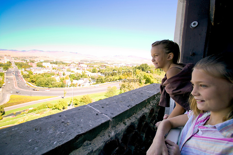 The Boise Depot is a beautiful historic Spanish-style structure operated by the Boise Parks & Recreation Department. Designed by New York architects, the building opened in 1925 to elaborate fanfare in the capital city. Here two girls check out the view of Boise from the tower window.