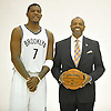 Brooklyn Nets No. 7 Joe Johnson and Head Coach Lionel Hollins pose for portraits during Media Day held at the team's practice center in East Rutherford, New Jersey on Monday, September 28, 2015.<br /> <br /> James Escher