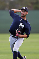 New York  Yankees Gabe Encinas #11 during a minor league spring training game against the Philadelphia Phillies at the Carpenter Complex on March 22, 2012 in Clearwater, Florida.  (Mike Janes/Four Seam Images)