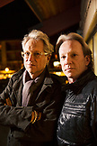 USA, Colorado, Aspen, portrait of Gerry Beckley and Dewey Bunnell of the band America at Belly Up in downtown Aspen
