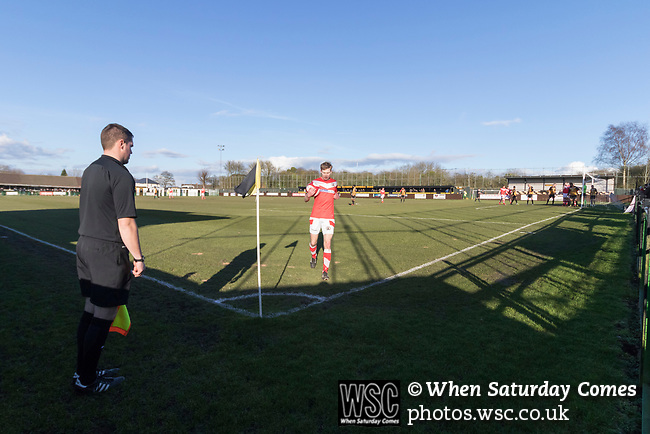 Rushall Olympic 1 Workingon 0, 17/02/2018. Dales Lane, Northern Premier League Premier Division. Connor Tinnion of Workington prepares to take a corner. Photo by Paul Thompson.