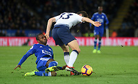 Tottenham Hotspur's Ben Davies battles with Leicester City's Wes Morgan<br /> <br /> Photographer Hannah Fountain/CameraSport<br /> <br /> The Premier League - Leicester City v Tottenham Hotspur - Saturday 8th December 2018 - King Power Stadium - Leicester<br /> <br /> World Copyright © 2018 CameraSport. All rights reserved. 43 Linden Ave. Countesthorpe. Leicester. England. LE8 5PG - Tel: +44 (0) 116 277 4147 - admin@camerasport.com - www.camerasport.com