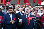© Joel Goodman - 07973 332324 . 05/05/2017. Manchester, UK. ANDREW GWYNNE speaks in Manchester following Andy Burnham's victory in the Manchester Metro mayoralty campaign , for a Momentum Rally on the steps of the Manchester Convention Centre . Andy Burnham did not attend . Photo credit : Joel Goodman