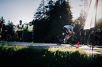 Remco Evenepoel (BEL) on his way to a spectacular win that will crown him World Champion (after already winning the Juniors TT some days earlier)<br /> <br /> MEN JUNIOR ROAD RACE<br /> Kufstein to Innsbruck: 132.4 km<br /> <br /> UCI 2018 Road World Championships<br /> Innsbruck - Tirol / Austria