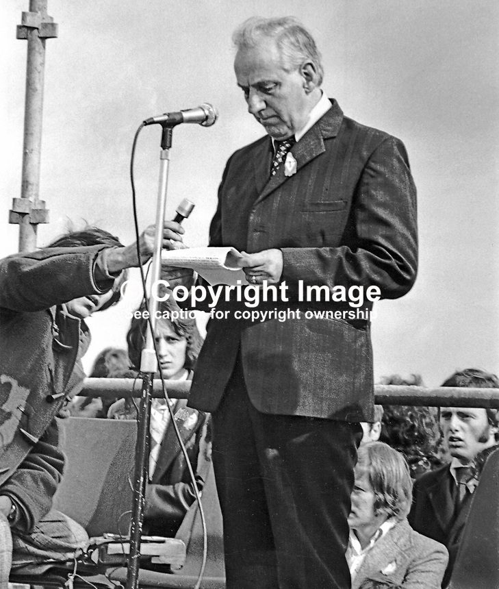 Provisional IRA leader, Seamus Twomey, giving the address at the annual Easter Rising commemoration ceremony at Milltown Cemetery, Belfast, N Ireland. 1975033001ST2.<br /> <br /> Copyright Image from Victor Patterson,<br /> 54 Dorchester Park, Belfast, UK, BT9 6RJ<br /> <br /> t1: +44 28 90661296<br /> t2: +44 28 90022446<br /> m: +44 7802 353836<br /> <br /> e1: victorpatterson@me.com<br /> e2: victorpatterson@gmail.com<br /> <br /> For my Terms and Conditions of Use go to<br /> www.victorpatterson.com
