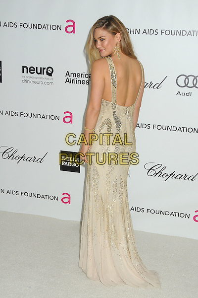 Bar Refaeli.20th Annual Elton John Academy Awards Viewing Party held at West Hollywood Park, West Hollywood, California, USA..February 26th, 2012.full length white silver gold dress sequins sequined backless profile back behind rear looking over shoulder oscars.CAP/ADM/BP.©Byron Purvis/AdMedia/Capital Pictures.