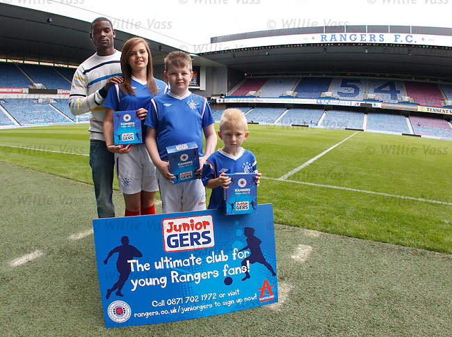 Maurice Edu launches the Junior Gers club at Ibrox Stadium with supporters Emma Stobo, Robbie Cilchrist and Martyn Histon