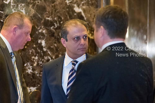 Preet Bahara, U.S. Attorney for the Federal Court (Southern District) arrives for a meeting with President-elect Donald Trump at Trump Tower in New York, NY, USA on November 30, 2016. <br /> Credit: Albin Lohr-Jones / Pool via CNP