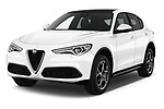2018 Alfa Romeo Stelvio Base 5 Door SUV angular front stock photos of front three quarter view