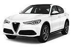 2018 Alfa Romeo Stelvio Base 5 Door SUV angular front stock photos of front three quarter view