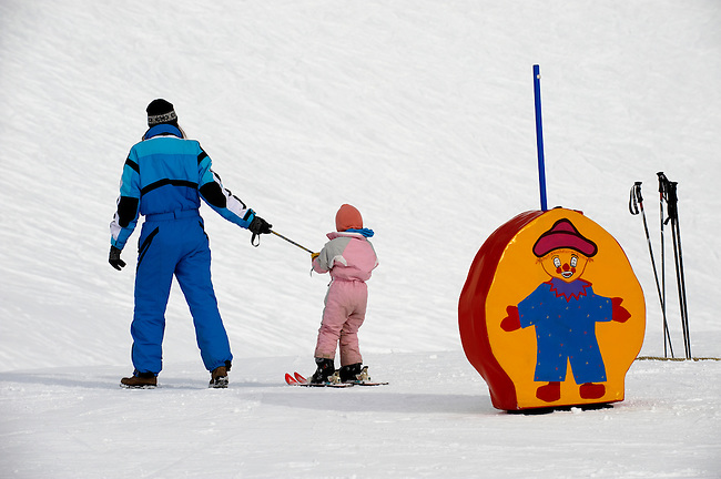 Mother and child Skiing - Insbruck - Austrian Tyrol