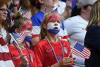 20190702 - LYON , FRANCE : American fans and supporters pictured during the female soccer game between England  - the Lionesses - and The United States of America  – USA - , a knock out game in the semi finals of the FIFA Women's  World Championship in France 2019, Tuesday 2 nd July 2019 at the Stade de Lyon  Stadium in Lyon  , France .  PHOTO SPORTPIX.BE | DAVID CATRY