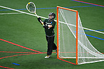 TAMPA, FL - MAY 20: Hannah George #26 of the Le Moyne Dolphins defends the goal against the Florida Southern Mocs during the Division II Women's Lacrosse Championship held at the Naimoli Family Athletic and Intramural Complex on the University of Tampa campus on May 20, 2018 in Tampa, Florida. Le Moyne defeated Florida Southern 16-11 for the national title. (Photo by Jamie Schwaberow/NCAA Photos via Getty Images)