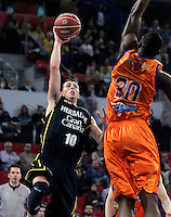 Valencia Basket Club's Florent Pietrus (r) and Herbalife Gran Canaria's Ryan Toolson during Spanish Basketball King's Cup semifinal match.February 07,2013. (ALTERPHOTOS/Acero) /NortePhoto