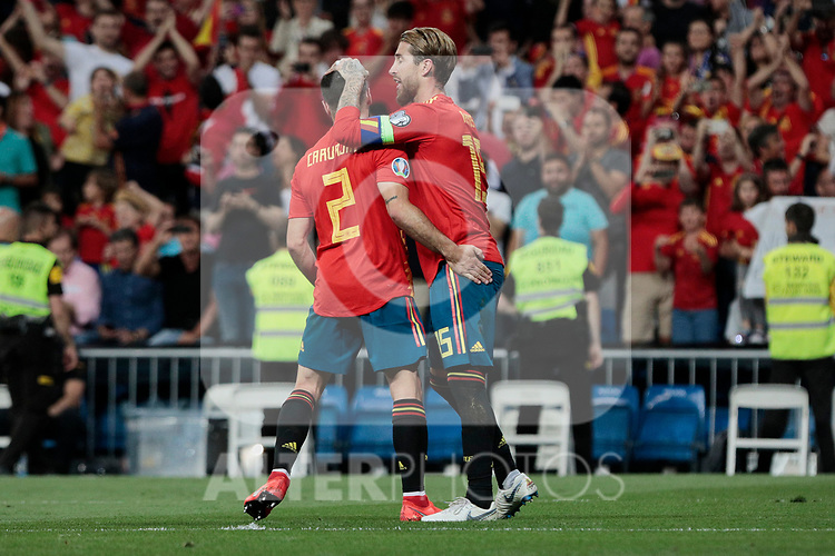 Spain national team players Dani Carvajal (L) and Sergio Ramos (R) celebrate goal during UEFA EURO 2020 Qualifier match between Spain and Sweden at Santiago Bernabeu Stadium in Madrid, Spain. June 10, 2019. (ALTERPHOTOS/A. Perez Meca)