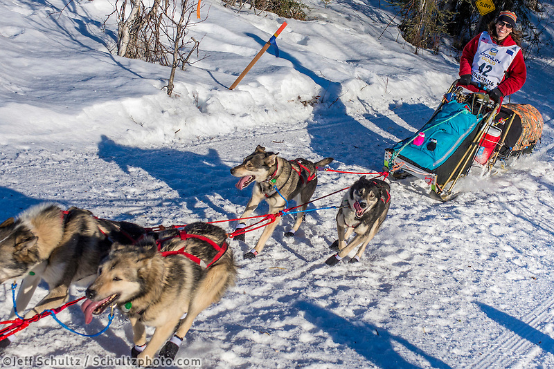 Kristin Bacon and team run down the trail on Long Lake shortly after leaving the re-start in Willow, Alaska on Sunday, March 6th during the 2016 Iditarod race. Photo by Joshua Borough/SchultzPhoto.com