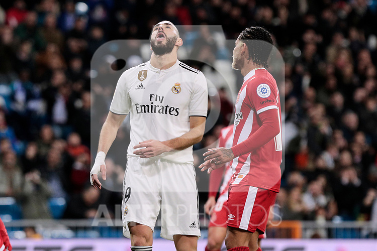 Real Madrid's Karim Benzema during Copa del Rey match between Real Madrid and Girona FC at Santiago Bernabeu Stadium in Madrid, Spain. January 24, 2019. (ALTERPHOTOS/A. Perez Meca)