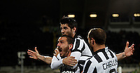 Calcio, Coppa Italia: semifinale di ritorno Fiorentina vs Juventus. Firenze, stadio Artemio Franchi, 7 aprile 2015. <br /> Juventus' Leonardo Bonucci, left, celebrates with teammates Alvaro Morata and Giorgio Chiellini, right, after scoring during the Italian Cup semifinal second leg football match between Fiorentina and Juventus at Florence's Artemio Franchi stadium, 7 April 2015.<br /> UPDATE IMAGES PRESS/Isabella Bonotto