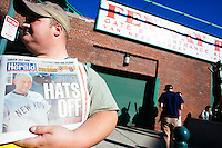 BOSTON, MASS. - SEPT. 28, 2014: Alan Saluti of Boston sells issues of the Boston Herald commemorating Derek Jeter at Fenway Park before the New York Yankees and Boston Red Sox play at Fenway Park. The game is last game of Derek Jeter's career. M. Scott Brauer for The New York Times