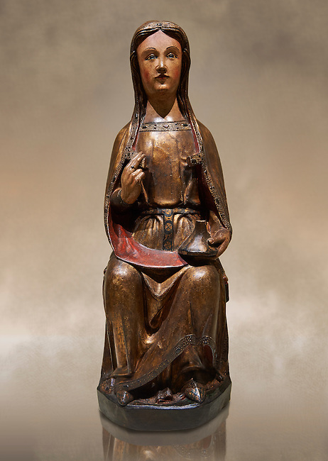 Gothic wood statue of Saint Lucy by the St Bertrand de Cominges Group of artists. Polychrome wood carving with varnished metal-plating.  National Museum of Catalan Art, inv no: 064013-000