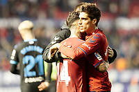 Ruben García (midfield; CA Osasuna) and Nacho Vidal (defender; CA Osasuna) after the Spanish football of La Liga 123, match between CA Osasuna and CD Lugo at the Sadar stadium, in Pamplona (Navarra), Spain, on Sanday, December 2, 2018.