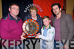 TROPHY: On Sunday the new sheild for the under 10s ballyheigue hurlers was donated at Ballyheigue presentation of medals in the White Sands Hotel, Ballyheigue by the Godley Family in memory of the late Eddie Godley Memorial Plaque, a accepetint the firt Edddie Godley Memorial Shield was Tomás Gaynor (capt of the under10) presented the plaque to Thomas was Adrian and Hannah Godley also in pic was Aiden O'Mahony(Kerry Footballer special Guest).