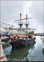 BNPS.co.uk (01202 558833)<br /> Pic: PhilYeomans/BNPS<br /> <br /> Yours for &pound;360k - Full size replica of Sir Francis Drake's legendary ship the Golden Hind.<br /> <br /> Sir Francis Drake's famed Elizabethan galleon, in which he circumnavigated the globe, is a floating museum in Brixham harbour in Devon.<br /> <br /> The 120ft wooden ship is an exact remake of the flagship which Drake sailed round the world from 1577 to 1580, the first Englishman ever to circumnavigate the globe.<br /> <br /> The boat, which was built in 1988, is the second of two replica Golden Hinds which have taken pride of place in Brixham, Devon, since the 1954.<br /> <br /> The current owner, Simon Read, inherited the boat from his father John who bought the original replica in 1970 and ran it until 1988 when it was replaced by a new version.<br /> <br /> Above decks it boasts two square-rigged masts each with iconic 'crow's nests', and six canons.