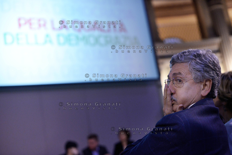 Roma, 21 Marzo 2015.<br /> Massimo D'Alema<br /> Assemblea della sinistra del Partito Democratico all'Acquario di Roma.<br /> A sinistra nel PD,. Per la Democrazia e il lavoro.