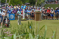 Scott Piercy (USA) looks over his tee shot on 1 during round 1 of the AT&T Byron Nelson, Trinity Forest Golf Club, at Dallas, Texas, USA. 5/17/2018.<br /> Picture: Golffile | Ken Murray<br /> <br /> <br /> All photo usage must carry mandatory copyright credit (© Golffile | Ken Murray)