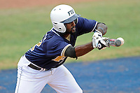 17 April 2010:  FIU's Pablo Bermudez (12) bunts for what developed into a two-run triple in the third inning as the FIU Golden Panthers defeated the University of New Orleans Privateers, 6-4, at University Park Stadium in Miami, Florida.