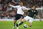 28 May 2008: Michael Bradley (USA) (4) challenges David Beckham (ENG) (7) for the ball. The England Men's National Team defeated the United States Men's National Team 2-0 at Wembley Stadium in London, England in an international friendly soccer match.