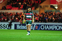 Kyle Eastmond of Leicester Tigers during the Heineken Champions Cup round 5 match between the Scarlets and Leicester Tigers at the Parc Y Scarlets Stadium in Llanelli, Wales, UK. Saturday 12th January 2019