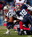 18 November 2007: New England Patriots fullback Kyle Eckel (38 left) breaks a tackle against the Buffalo Bills at Ralph Wilson Stadium in Orchard Park, NY. The Patriots defeated the Bills 56-10 in their second meeting of the season...Mandatory Photo Credit: Ed Wolfstein Photo