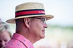June 8, 2019 : A man wears a Maker's Mark hat on Belmont Stakes Festival Saturday at Belmont Park in Elmont, New York. Scott Serio/Eclipse Sportswire/CSM