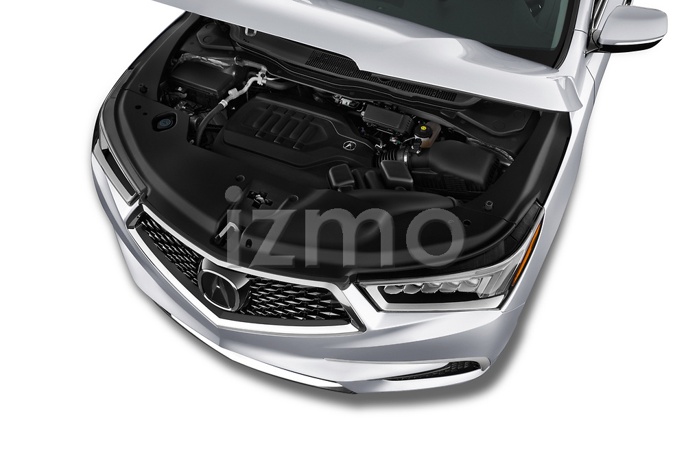Car stock 2020 Acura mdx Base 5 Door SUV engine high angle detail view