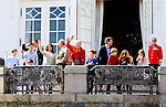 16-04-2014 Balcony 74th birthday of the Danish Queen at Marselisborg Castle in Aarhus.<br /> Queen Margrethe and Prince Henik.<br /> Prince Frederik and Princess Mary and Prince Christian and Princess Isabella and Prince Vincent and Princess Josephine.<br /> Prince Joachim and Princess Marie and Prince Nikolai and Prince Felix and Prince Henrik and Princess Athena.<br /> <br /> <br /> <br /> Credit: PPE/face to face<br /> - No Rights for Netherlands -