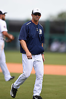 Detroit Tigers manager Brad Ausmus (7) during a Spring Training game against the Miami Marlins on March 25, 2015 at Joker Marchant Stadium in Lakeland, Florida.  Detroit defeated Miami 8-4.  (Mike Janes/Four Seam Images)