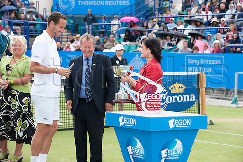 19th June 2010 Aegon International Tennis: Michael Llodra of France after playing Guillermo Garcia-Lopez in the mens final, Aegon International Tennis Tournament Eastbourne, Played at Devonshire Park, England. Llodra won in two sets.
