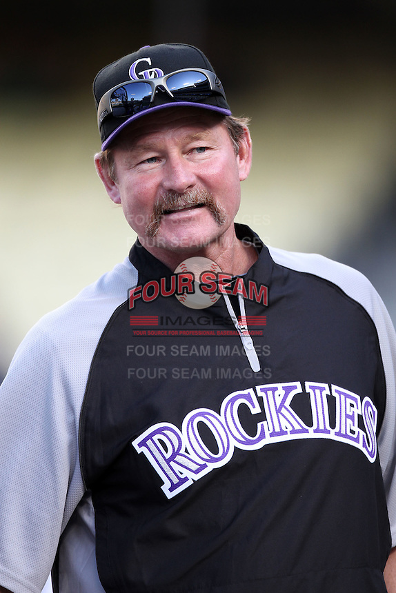 Colorado Rockies coach Carney Lansford #13 before a game against the Los Angeles Dodgers at Dodger Stadium on July 26, 2011 in Los Angeles,California. Los Angeles defeated Colorado 3-2.(Larry Goren/Four Seam Images)