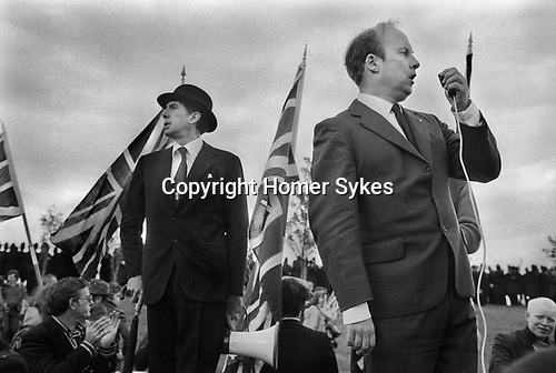 National Front demonstration. Manchester England Oct 8th 1977..Andrew Fontaine ( in Bowler hat) John Tyndall.